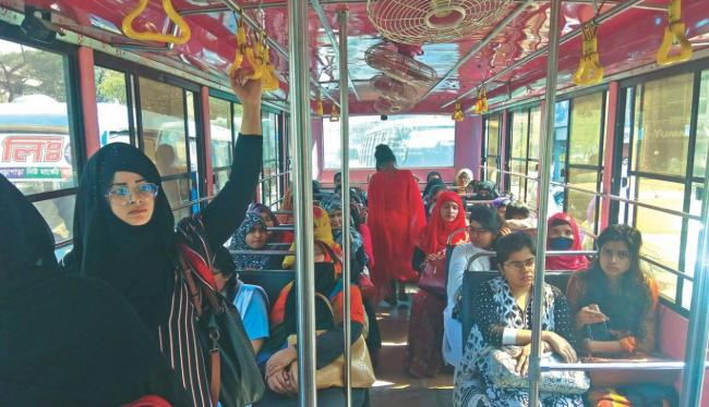 women  in bus